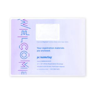 "13"" x 10"" White Paper Registration Envelope, Window with Pocket, Full-Color Imprint"
