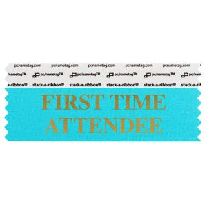 "4"" x 1-5/8"" FIRST TIME ATTENDEE stack-a-ribbon ®, Jewel Blue"