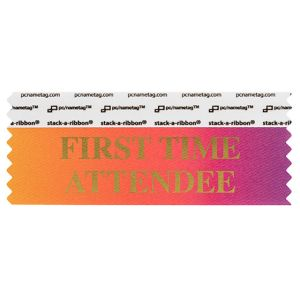 "4"" x 1-5/8"" FIRST TIME ATTENDEE stack-a-ribbon ®, Rainbow"