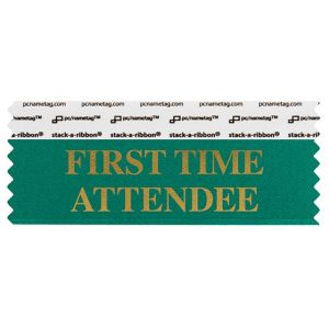"4"" x 1-5/8"" FIRST TIME ATTENDEE stack-a-ribbon ®, Teal"