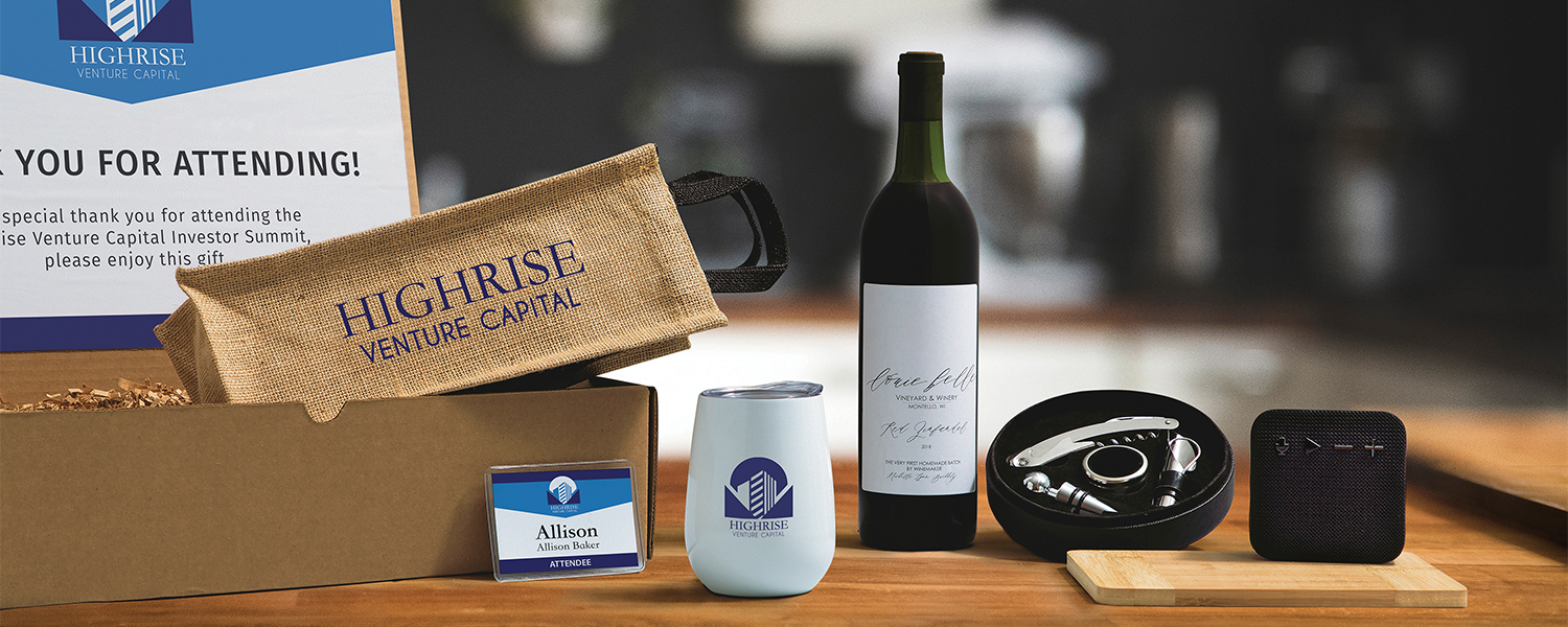Networking gift box with wine, wine accessories, name tag and electronics