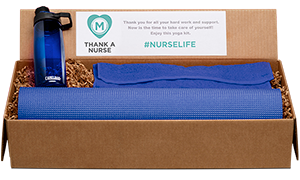 Custom gift box with yoga mat and water bottle