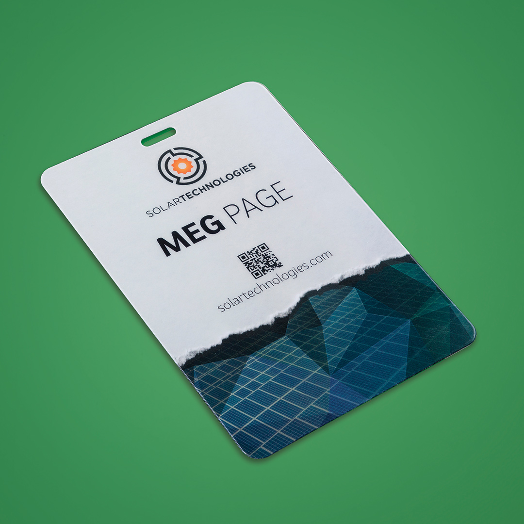 sustainable event badge option will is constructed of degradable plastic laminate