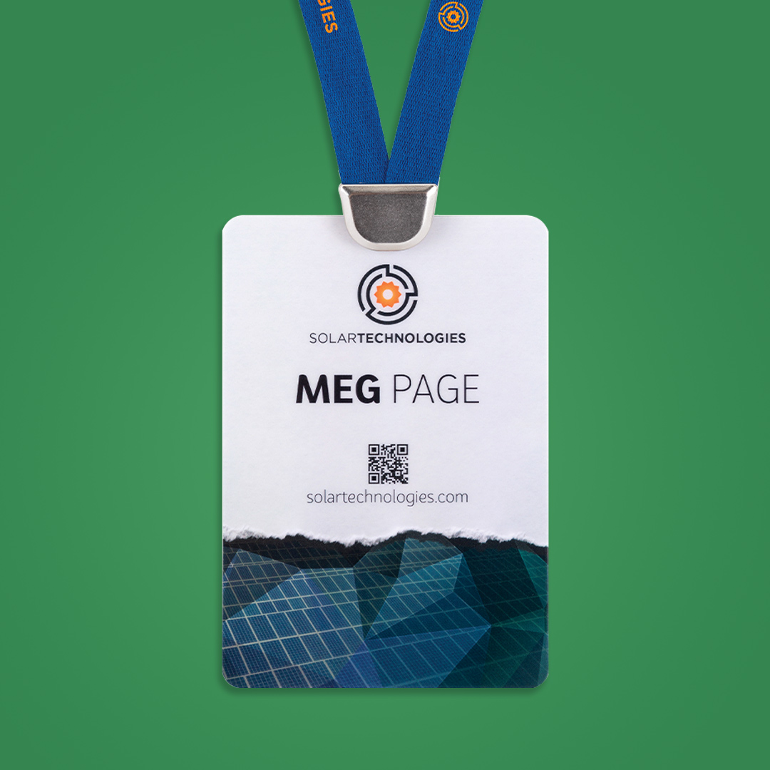 fully customized eco event badge with custom lanyard