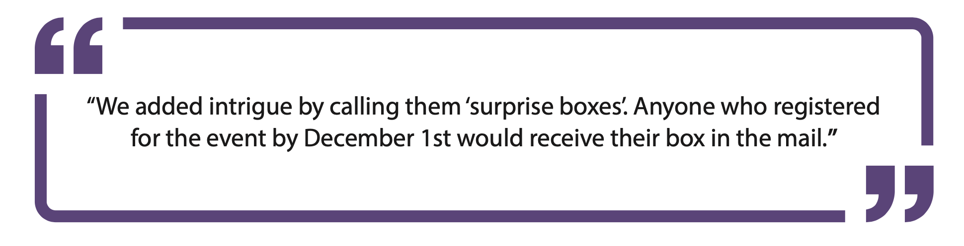 Quote: We added intrigue by calling them 'surprise boxes'. Anyone who registered to the event by December 1st would receive a box in the mail.