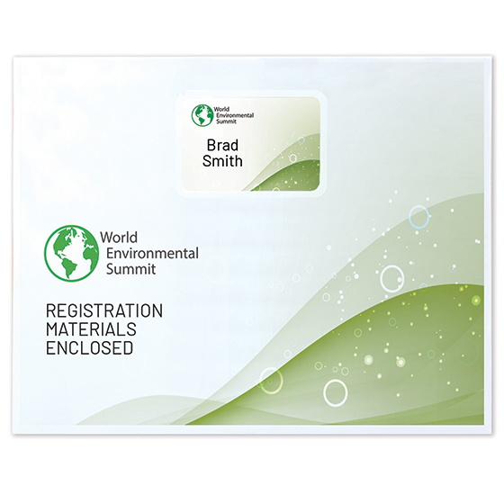 "13"" x 10"" White Eco Paper Registration Envelope, Window with Pocket, 1-Color Imprint"