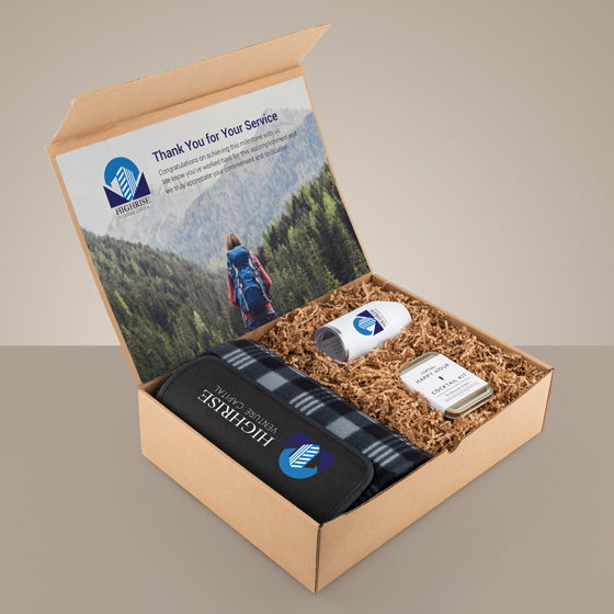 Gift box with blanket, tumbler and cocktail kit