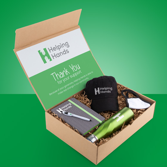 Gift box with hat, water bottle, notebook, pen and mask