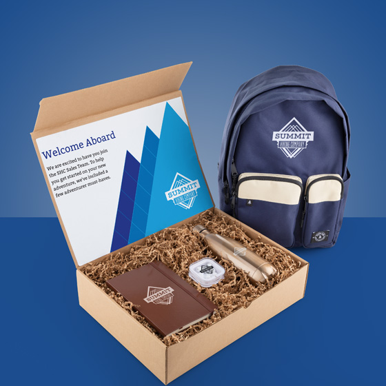Gift box with backpack, journal, water bottle and earbuds