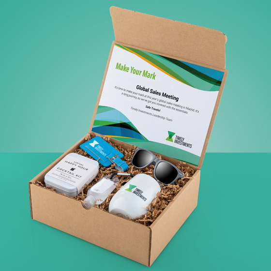 Gift box with cocktail kit, sunglasses, luggage tab, hand sanitizer and tumbler