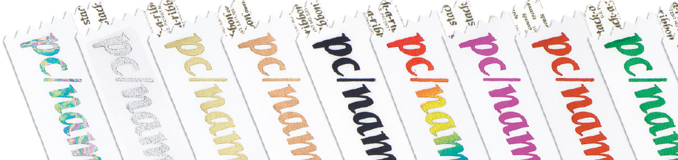 Custom name badge ribbons in different colors
